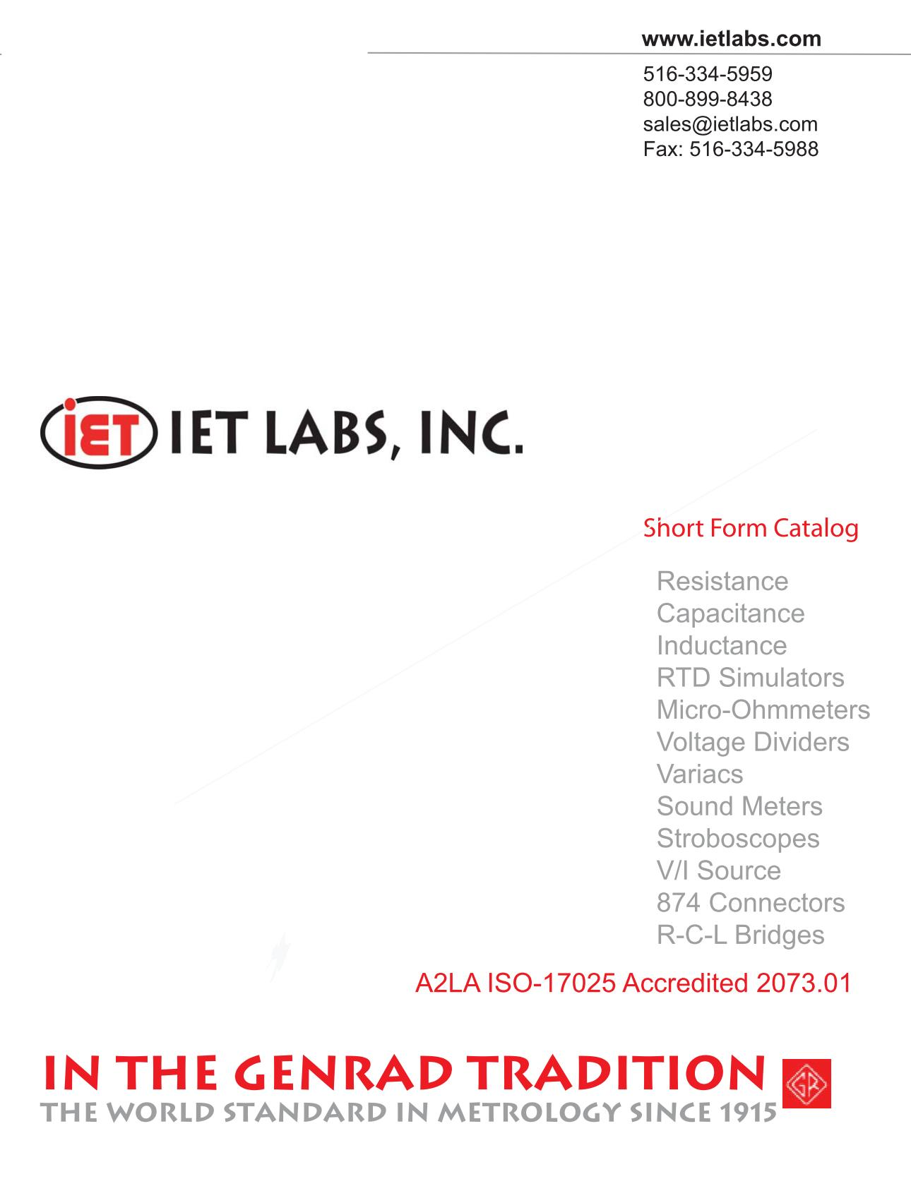 IET Labs short form catalogue