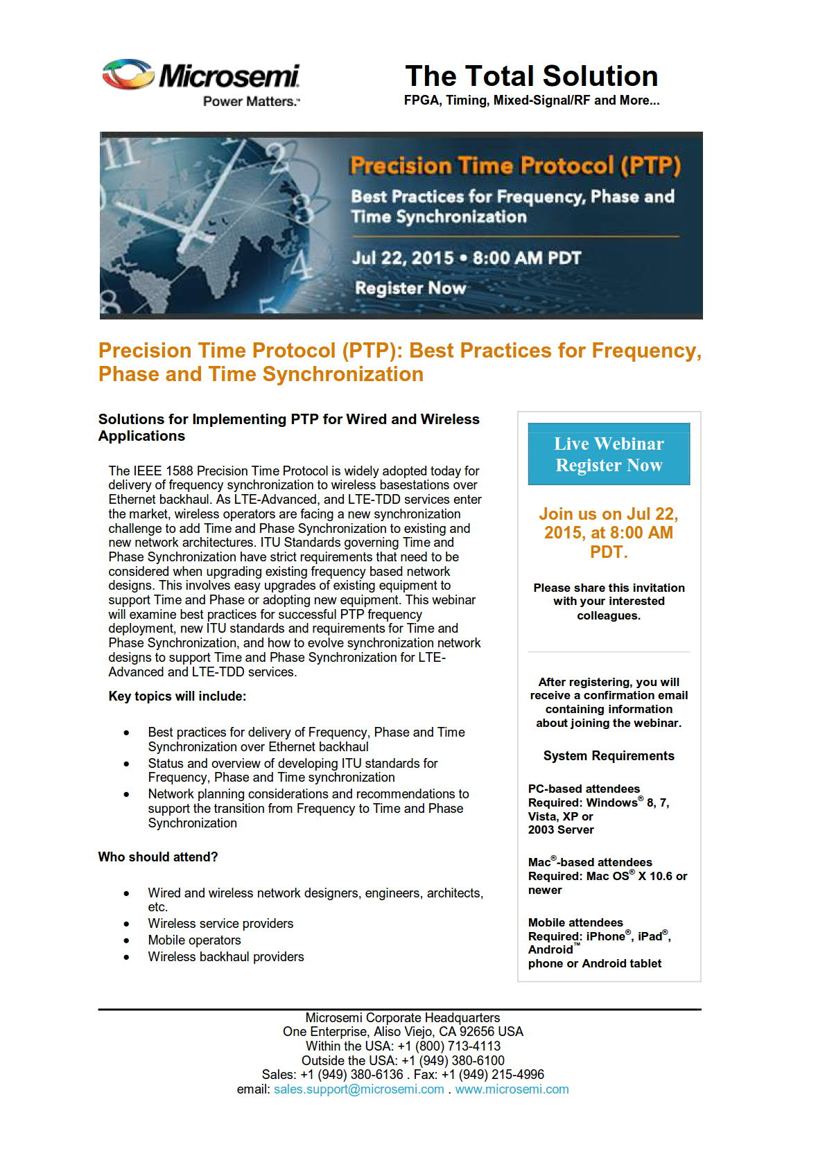Precision Time Protocol (PTP): Best Practices for Frequency, Phase and Time Synchronisation